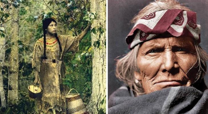 Een man vindt kleurenfoto's van 100 jaar geleden terug: de Inheemse Amerikanen in al hun schoonheid