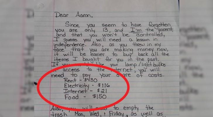 El hijo se comporta mal en casa: la carta de la mama es leida por miles de personas