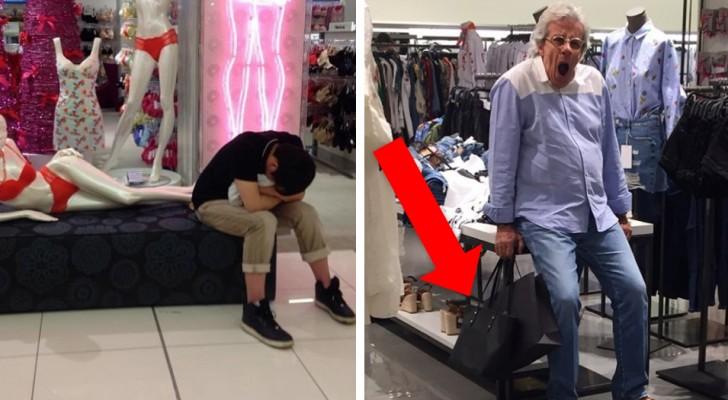 15 foto's van mannen die de fout hebben gemaakt om met hun partner te gaan winkelen