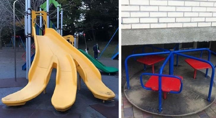 Os erros mais engraçados nos projetos (ou na construção) dos parquinhos infantis.