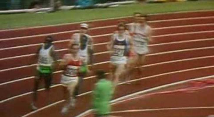 Ein Läufer liegt auf dem letzten Platz, aber was er schafft, ist in die Geschichte eingegangen