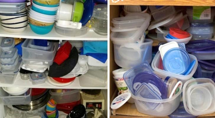 Hier sind geniale Tricks, mit denen ihr euren Schrank mit den Plastikbehältern ordentlich haltet