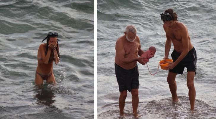 Uma turista russa tem um filho nas águas do Mar Vermelho: um usuário do Facebook captura o momento