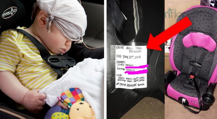 Eine Mutter erklärt wieso man einen Zettel am Kindersitz befestigen sollte und wie das das Leben des Kindes retten kann