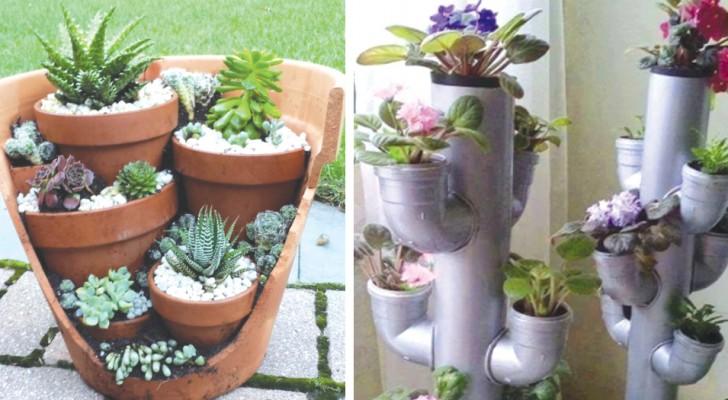 12 façons auxquelles tu n'avais jamais pensé pour organiser les vases dans ton jardin