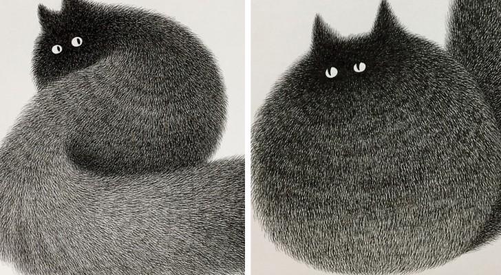 Un artista malese usa solo penne a punta fine per creare questi gatti pelosi ed il risultato è incredibile