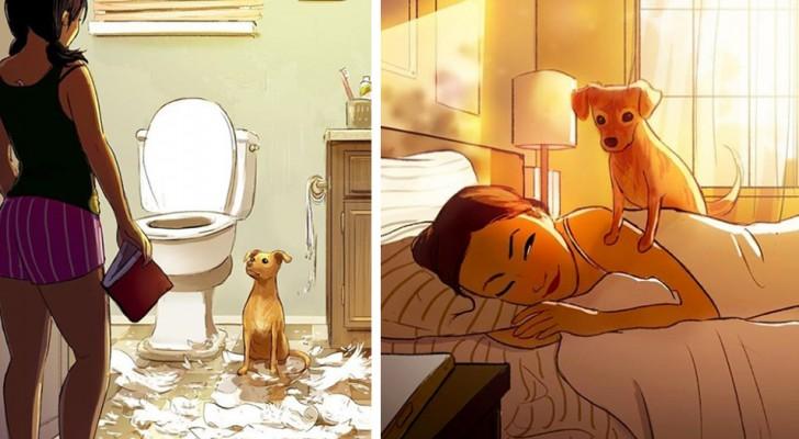 Questi dolcissimi disegni dimostrano che con un cane in casa non ci si potrà mai sentire soli