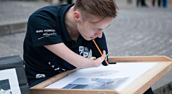Questo giovane artista è nato senza mani, ma riesce comunque a realizzare opere incredibilmente realistiche
