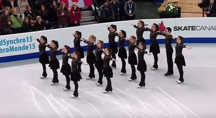 16 patinadores realizan la competicion con una performance de medalla de oro