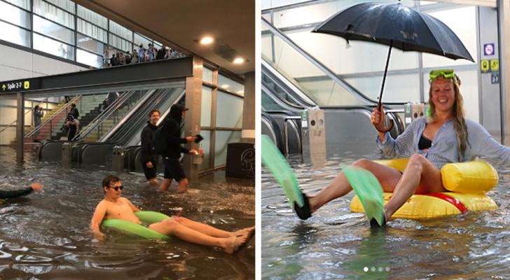 Le piogge allagano una stazione svedese: ma è stata la reazione dei pendolari a fare notizia
