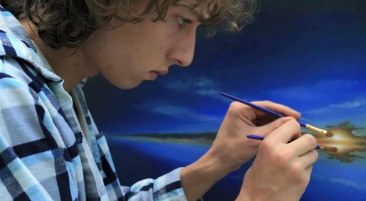 Questo ragazzo ha meravigliato migliaia di persone dipingendo stupendi quadri a due mani