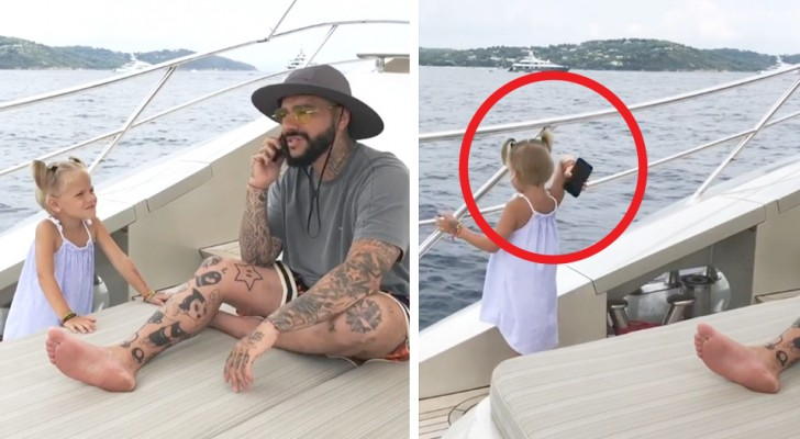 La figlia di 4 anni getta in mare il cellulare del padre perché non smetteva di usarlo durante la vacanza