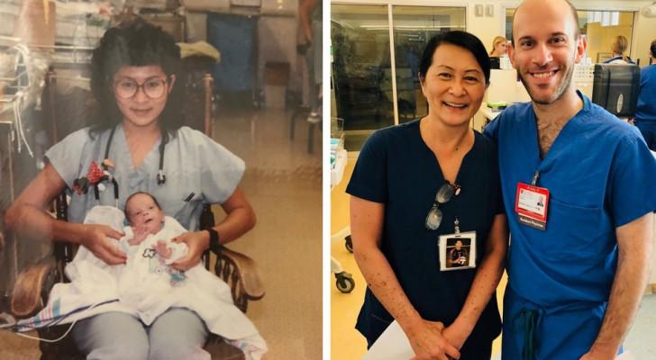 Sjuksköterskan hade tagit hand om honom för att han föddes för tidigt. 30 år senare känner de igen varandra på samma sjukhus