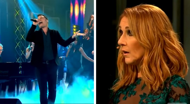 De man komt met een nummer van Queen: wanneer hij begint te zingen is ook Celine Dion verbaasd