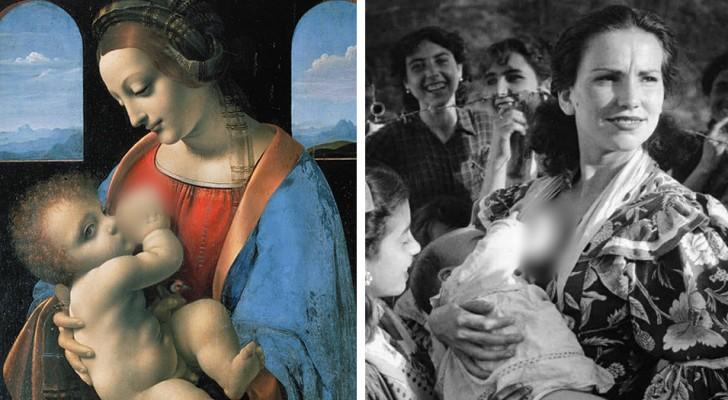 Queste immagini ci dimostrano che allattare al seno in pubblico è una pratica che risale alla notte dei tempi