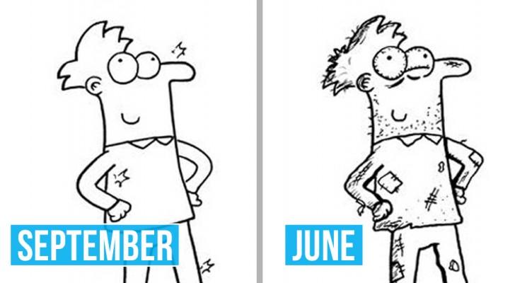 Un maestro elementare disegna alcuni momenti della sua quotidianità: le sue vignette sono deliziose