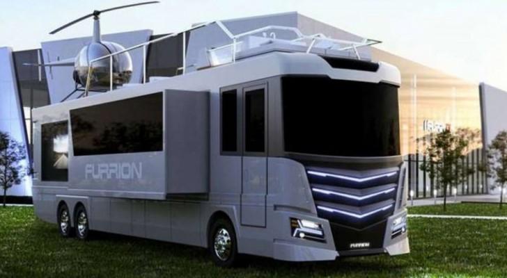 Campeggio... a 5 stelle: questo camper futuristico ha una Jacuzzi e un elicottero sul tetto