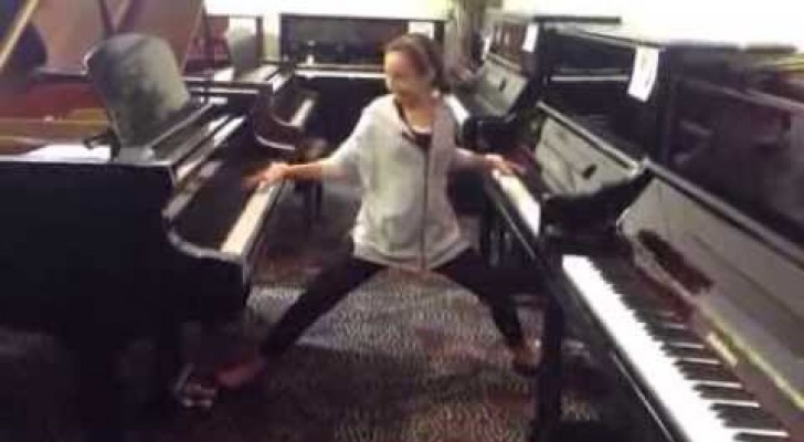A 12 year old girl walks into a piano store and look what she can do