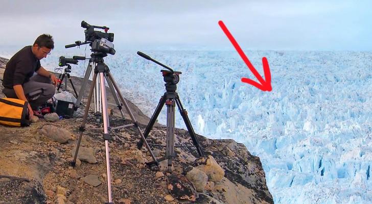 Dit is een verschrikkelijk spektakel, opgenomen met een telecamera van het ijs van Groenland