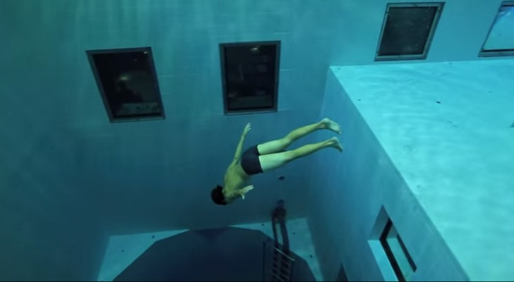 A Man Dives In One Of The Deepest Pools In The World