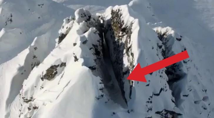 Esqui extremo: aqui la terrible bajada libre que los dejara sin aliento