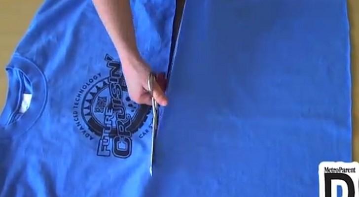 Elle prend un t-shirt et la coupe en lambeaux: sa création est vraiment étonnante!