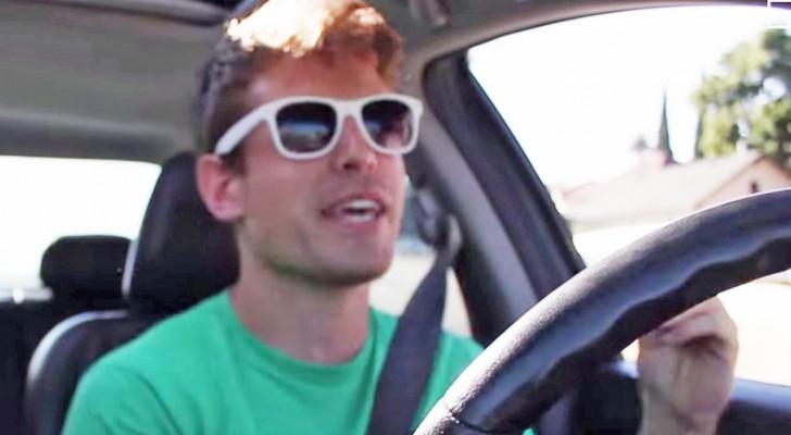 Deze kerel zingt in de auto kort erna gebeurt er iets magisch