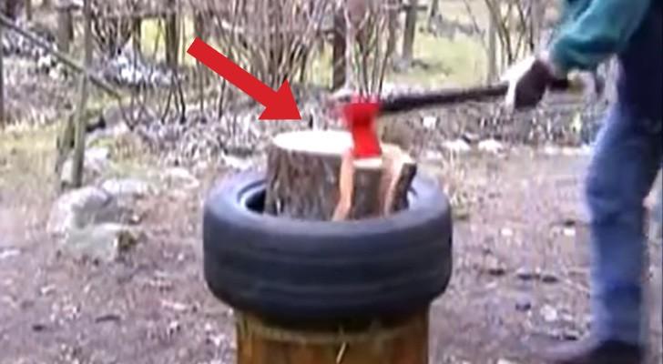Dit is een innovatieve methode om binnen enkele seconden hout te hakken. Wow!