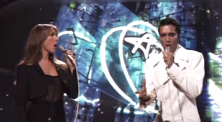 Als Celine Dion samen met Elvis het podium op komt, gelooft niemand zijn ogen