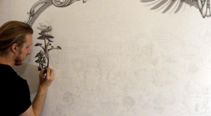 A pencil and a white wall: the final creation of this artist is impressive !