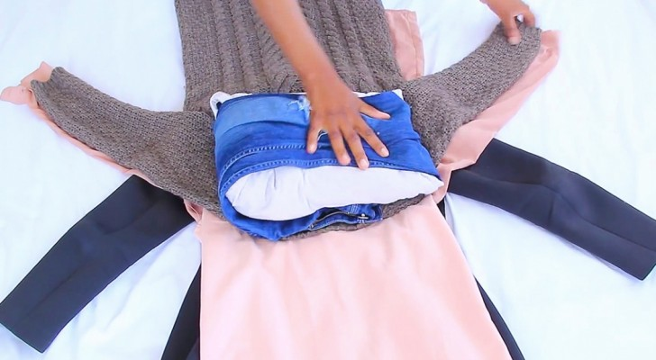 Here's the trick to get ALL your clothes in a SMALL suitcase and then ... Have a good trip!