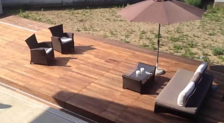 es sieht wie ein normale terrasse aus doch wenn man auf den knopf dr ckt ndert sich alles. Black Bedroom Furniture Sets. Home Design Ideas