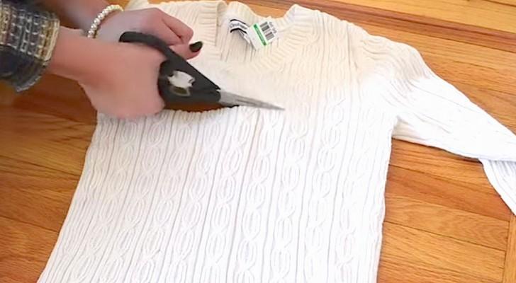 Comienza cortando un viejo pullover y crea un accesorio irrenunciable para el invierno!