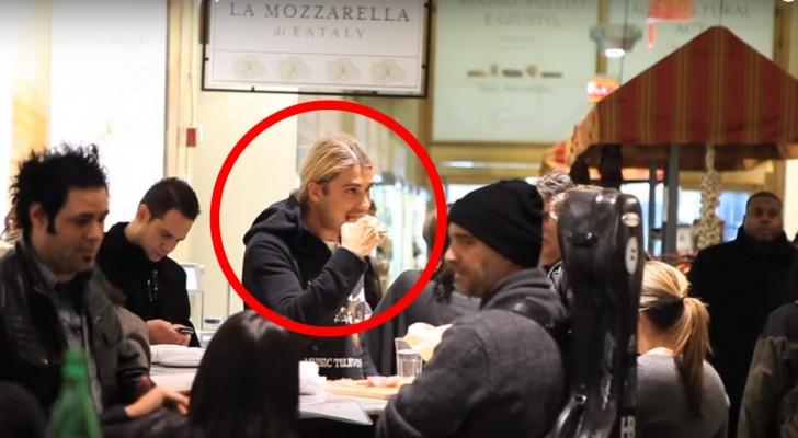 Un ragazzo sta mangiando in pizzeria... nessuno sospetta che sta per creare il panico! Wow!