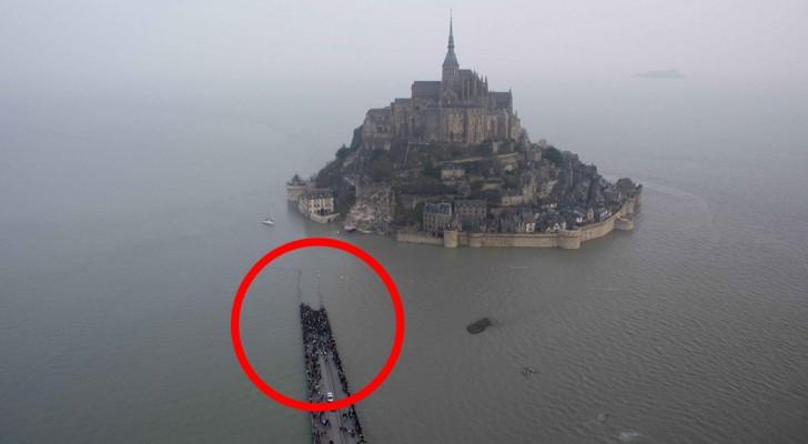 La marée du siècle: l'eau monte de 14 mètres autour du Mont Saint-Michel