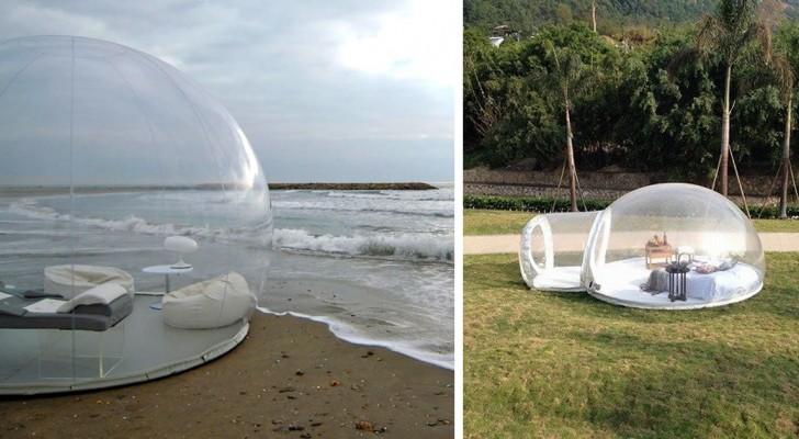 Wij introduceren een transparante tent waarin je kunt genieten van de sterrenhemel voor het slapen gaan...