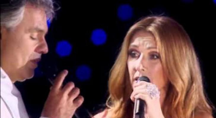 Céline Dion rejoint sur scène Andrea Bocelli: leur duo est magique