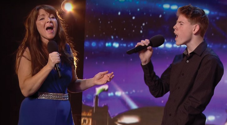 A mother and son sing on stage --- they enchant the judges and the audience!
