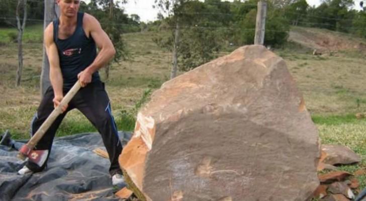 Er beginnt, einen Holzblock mit der Axt zu bearbeiten. Das finale Meisterwerk ist rührend