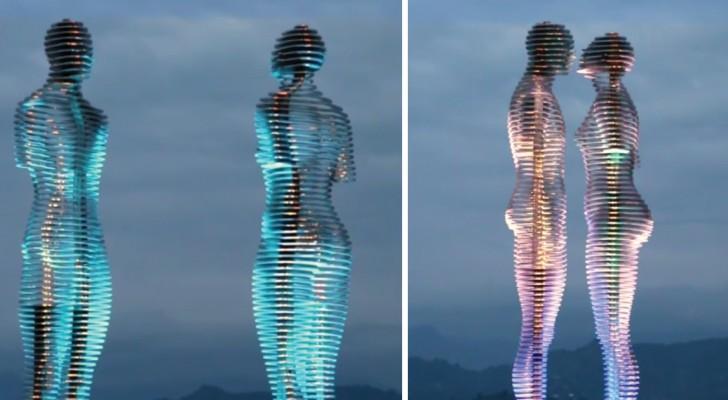 Deze twee standbeelden passeren elkaar elke dag en vertellen en tragisch liefdesverhaal