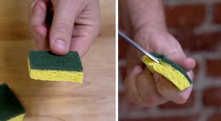 Il coupe une éponge et fait une encoche... Voici comment laver les objets les plus difficiles !
