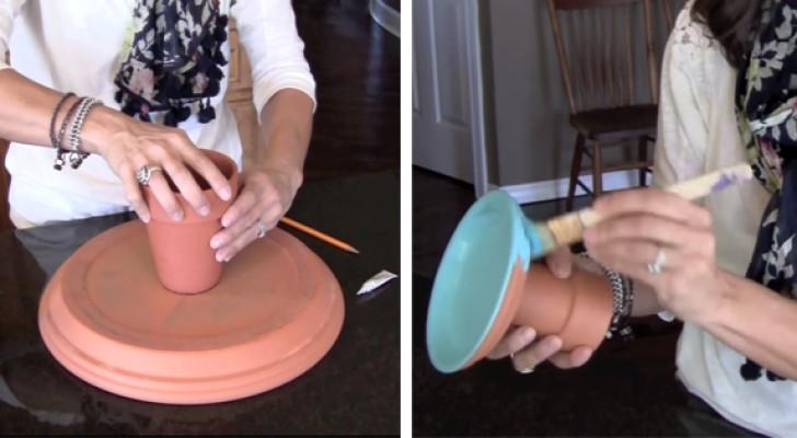 Ze begint een aantal terracotta potten en borden aan elkaar te lijmen en creëert hiermee een ideaal voorwerp voor in huis!