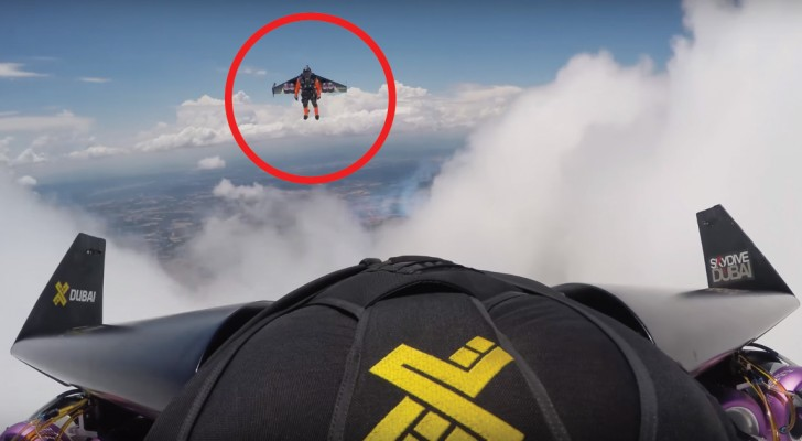 Two men ride the clouds --- what a thrilling spectacle!