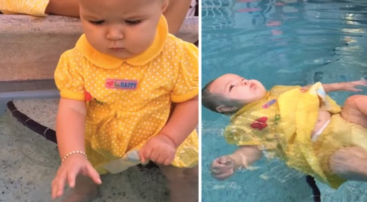 La petite assiste à un cours de natation pour  bébés: ce qu'elle a appris pourrait lui sauver sa vie
