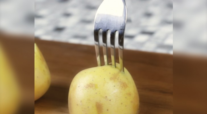 Stick a fork in half of a raw potato --- here is a useful BBQ trick!