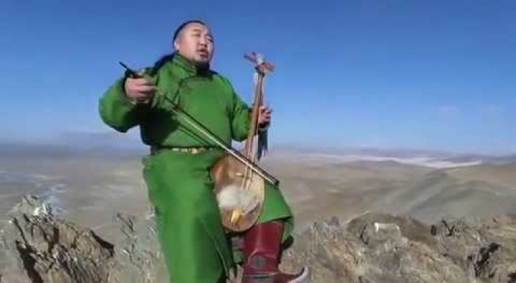 A man performs antique Mongolian throat-singing -- the effect is magical....