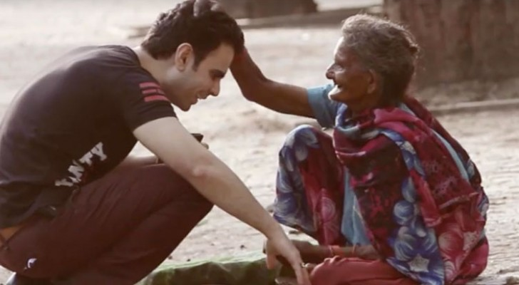 An elderly woman hugs a young man --- His gift fills her heart with joy!