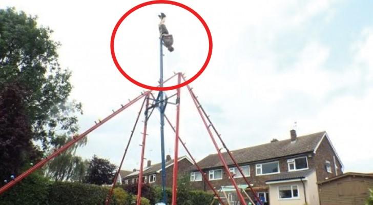 Monta en el jardin de la casa un columpio gigante: miren que cosa es capaz de hacer...Wow!