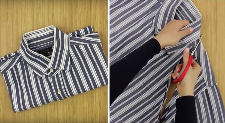 Voici comment recycler une vieille chemise de manière ingénieuse et SANS COUTURE!