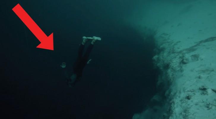 Deze vrijduiker stort zich in het diepe... maar de plaats die hij hiervoor heeft uitgekozen, bezorgt je kippenvel!